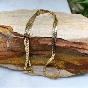 Vintage Gold Tone Flat Curb Link Chain